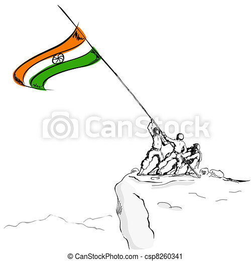 Soldier raising Indian Flag - csp8260341