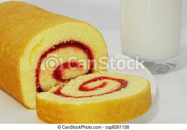Tasty roll with strawberry jam; sliced roll - csp8261158