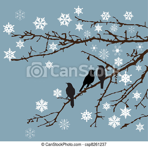 Snow branches - csp8261237