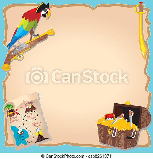 Pirate Birthday Party  and treasure - csp8261371