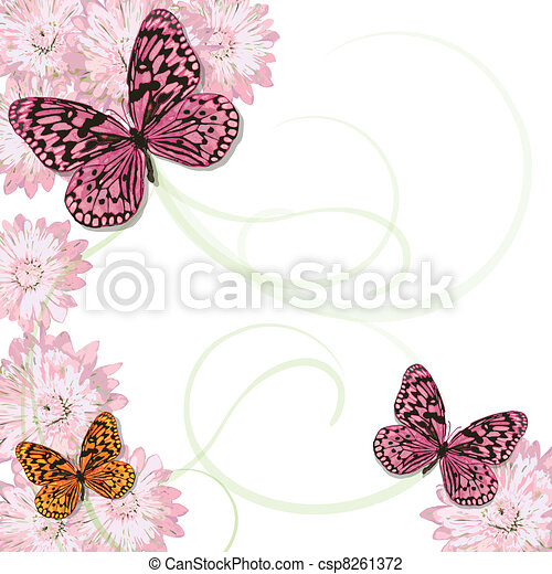 Butterflies and daisies Invitation  - csp8261372
