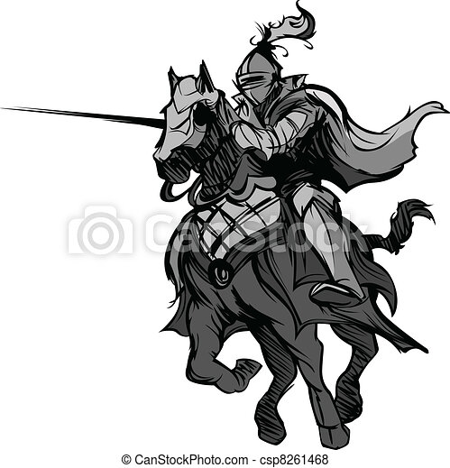 Jousting Knight Mascot on Horse - csp8261468