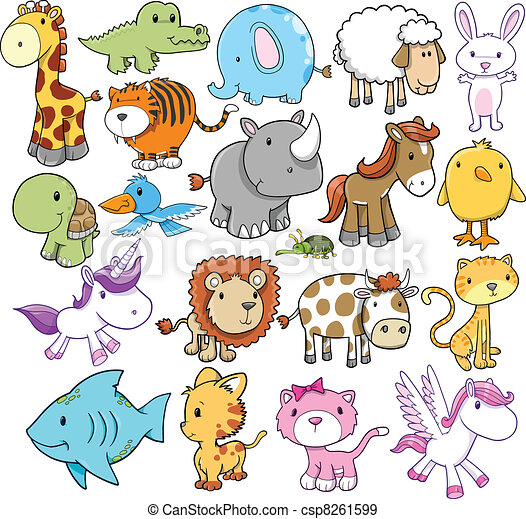 Eps Vectors Of Cute Animal Vector Design Elements Set
