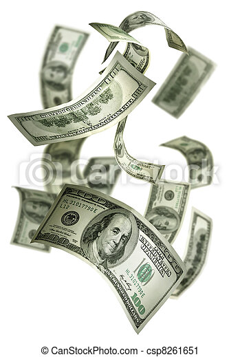 Falling Money $100 Bills - csp8261651