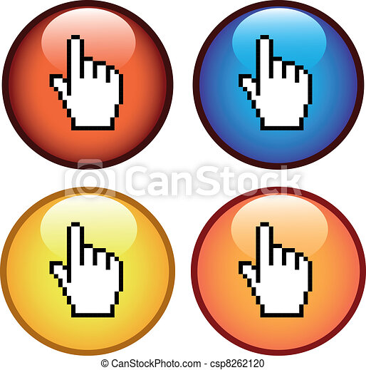 Vector buttons with cursor of hand - csp8262120
