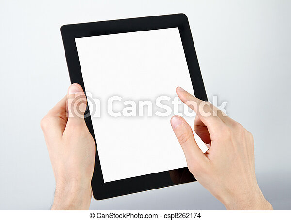 Holding And Point On Electronic Tablet PC - csp8262174