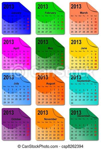 calendário, 2013 - csp8262394