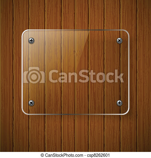 Wooden texture with glass framework. Vector illustration - csp8262601