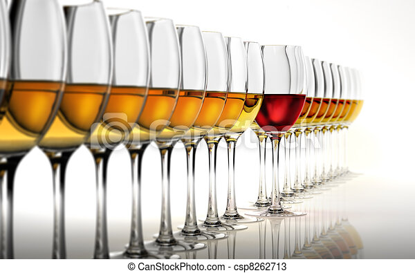 Row of many white wine glasses, with a red one standing out in the middle. On a white reflective surface and white background. - csp8262713