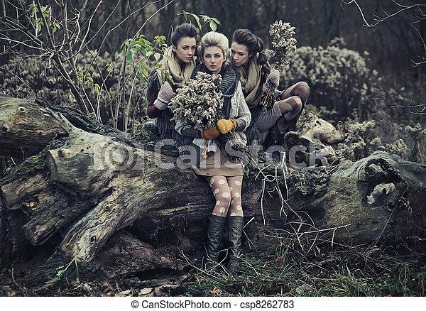 Three beautiful ladies - csp8262783
