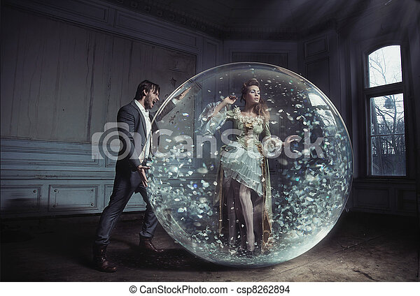 A young lady got stuck in crystal ball - csp8262894