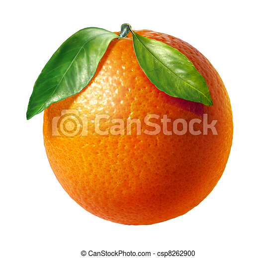 Orange fresh fruit with two leaves, on white background. - csp8262900