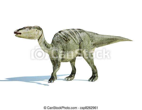 Photorealistic 3 D rendering of an Edmontosaurus. - csp8262961