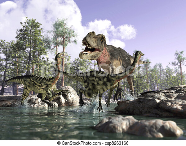 Photorealistic 3 D scene of a Tyrannosaurus Rex, hunting two Gallimimus, running in a river with rocks and trees in the background. Depth of field. - csp8263166