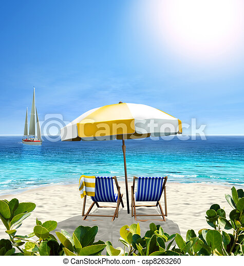 Beautiful beach with white sand, two chairs, white-yellow umbrella and a sailing boat in the sea. - csp8263260