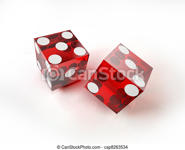 Two casino red dices in action, on white surface. - csp8263534