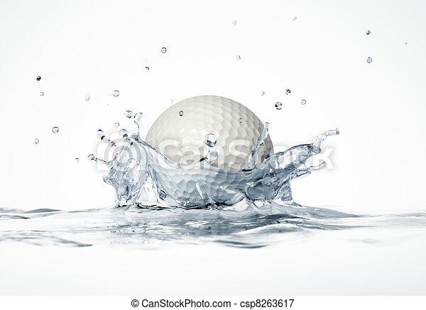 White golf ball splashing into water, forming a crown splash. - csp8263617