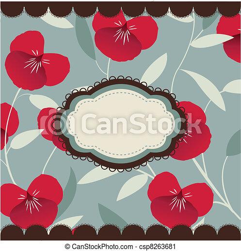 vintage floral card with frame - csp8263681