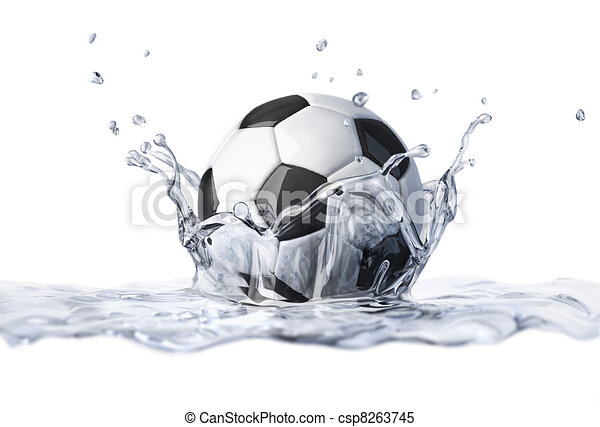 Soccer ball falling into clear water, forming a crown splash. - csp8263745