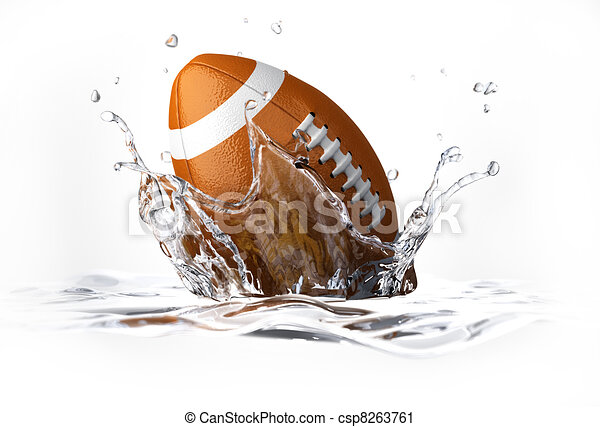 American football ball, falling into clear water, forming a crown splash. On white background, with depth of field. - csp8263761