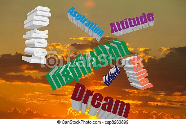 Positive Attitude Words in the Sky  - csp8263899