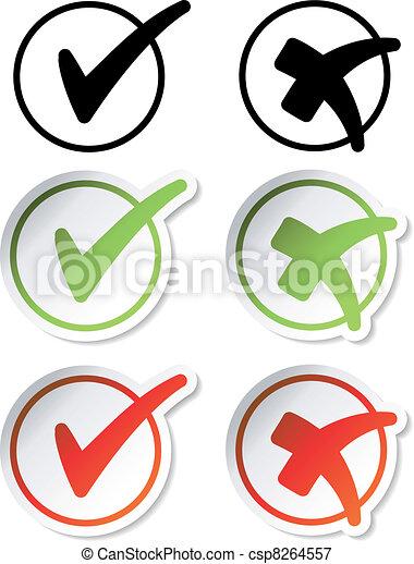 Vector check mark stickers - csp8264557