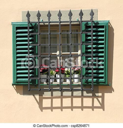 Stock fotografie von fenster gesch tzt gitter fenster for Fenster 800x800