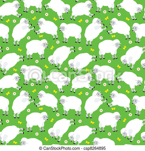 Seamless sheeps pattern - csp8264895