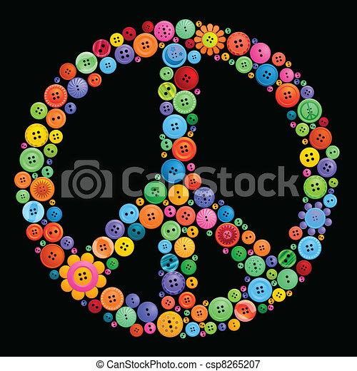 button peace sign - csp8265207