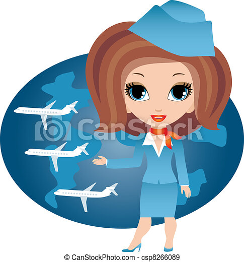 Stewardess cartoon - csp8266089