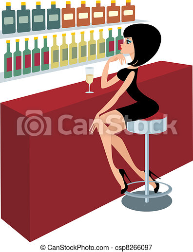 Young woman sits at a bar counter - csp8266097