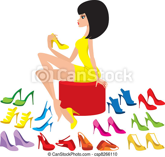 Young woman tries on shoes - csp8266110