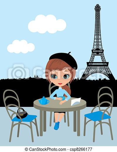 Pretty girl in the Parisian cafe - csp8266177