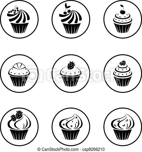 Small Cupcakes Drawings Cupcakes Set Csp8266210