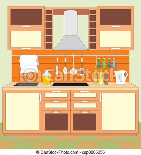clip art vektor von kueche m bel inneneinrichtung csp8266256 suchen sie nach clipart. Black Bedroom Furniture Sets. Home Design Ideas