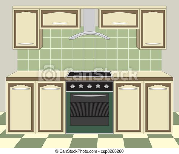 vektor kueche m bel inneneinrichtung stock illustration lizenzfreie illustration stock. Black Bedroom Furniture Sets. Home Design Ideas