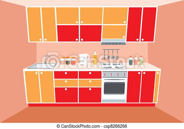 clip art vektor von inneneinrichtung m bel kueche kueche m bel csp8266266 suchen sie. Black Bedroom Furniture Sets. Home Design Ideas