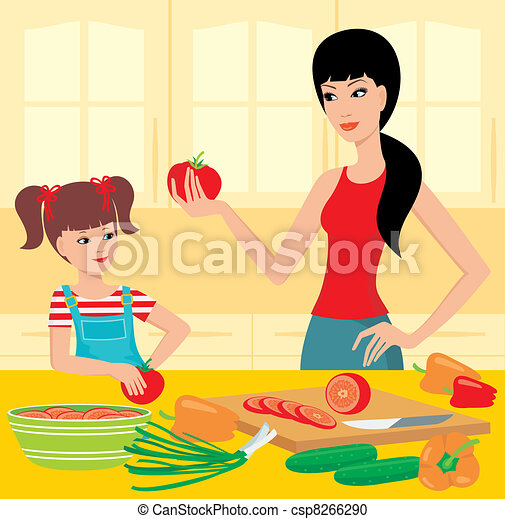 Mum learns the daughter to prepare - csp8266290