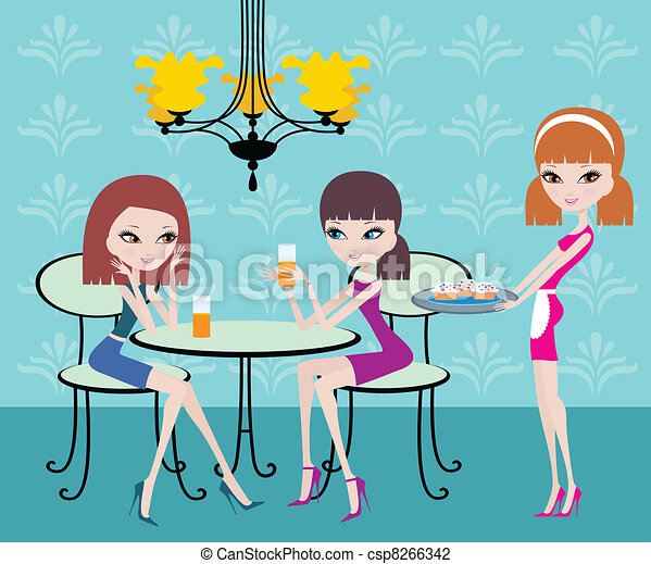 Friends in cafe and the waitress - csp8266342