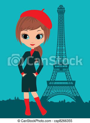 Pretty girl in the Paris - csp8266355