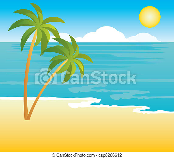 Beach with palm trees - csp8266612