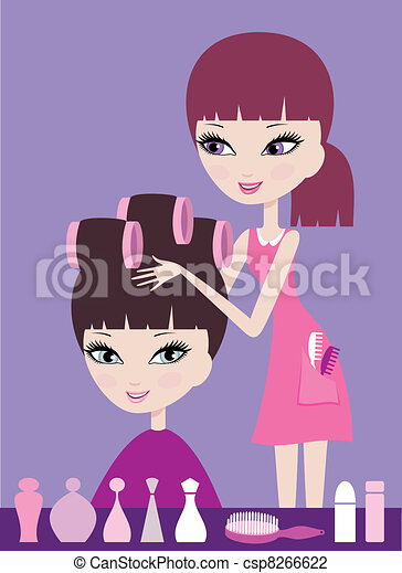Girl with hair in curlers  - csp8266622