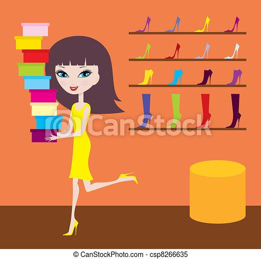 Sale in footwear shop - csp8266635