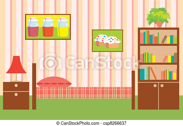 Room of the girl. Interior - csp8266637