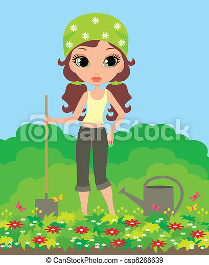 Girl the gardener - csp8266639