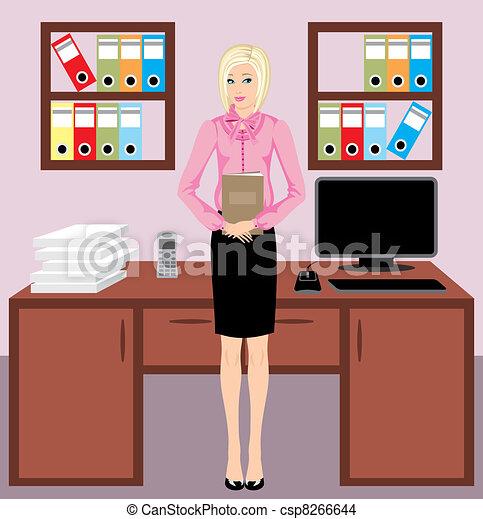 Eps vector de mujer de negocios oficina businesswoman for Dibujo de una oficina moderna