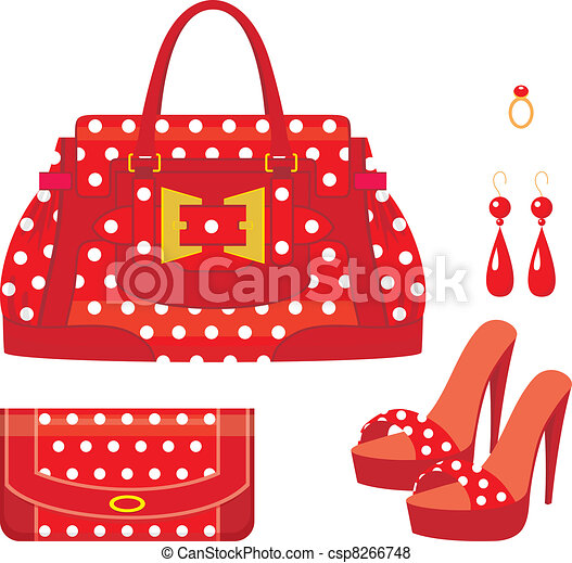 Female bag, purse and shoes - csp8266748