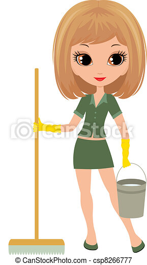 Girl the cleaner on a white backgro - csp8266777