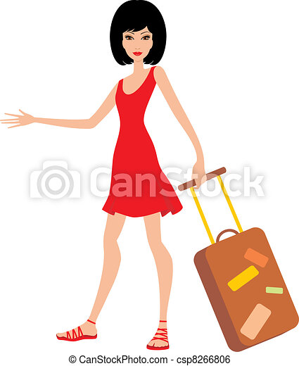 Woman with a suitcase in a red dres - csp8266806
