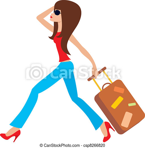 Young woman runs with a suitcase - csp8266820